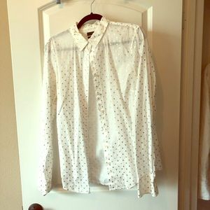 Gold polka dot j crew perfect shirt TALL size 14